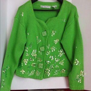 Vintage Michael Simon Green Glass Bead Sweater